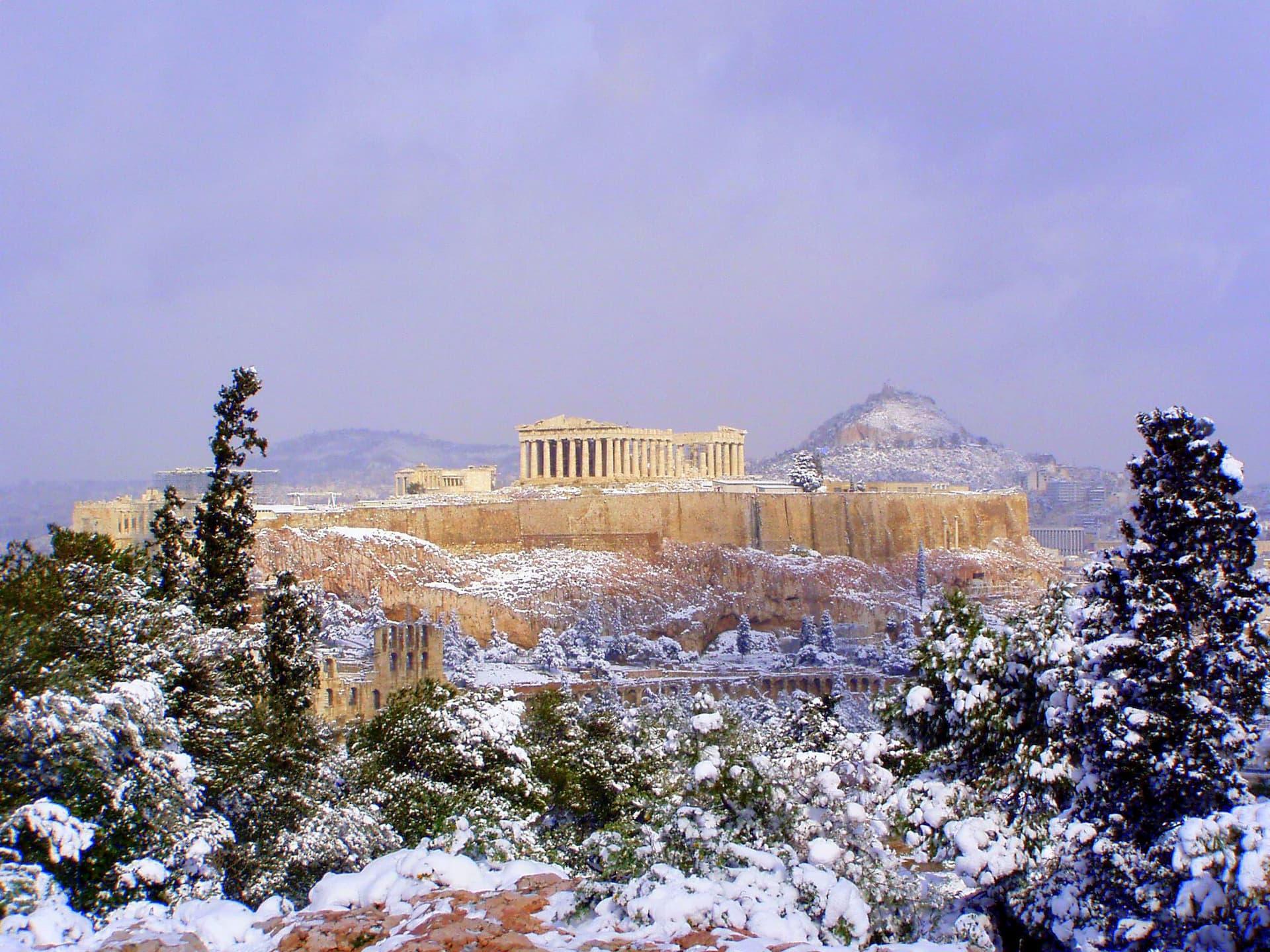 Acropolis, Atena, acoperit de zăpadă