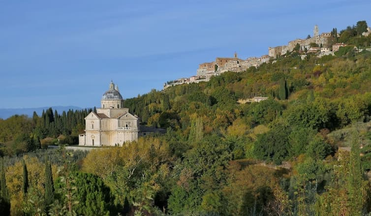 Biserica San Biagio de la poalele colinei Montepulciano