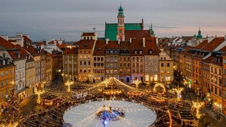 Centrul Varșoviei, gătit pentru sărbătorile de iarnă