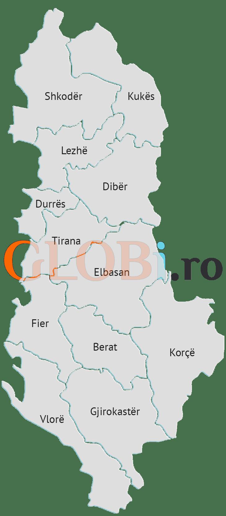Hartă online provincii Albania