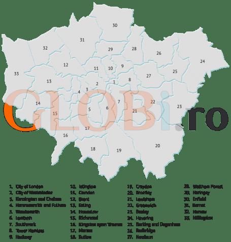 Harta online a districtelor Londrei