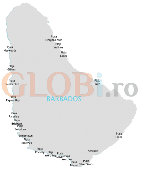 Harta plajelor din Barbados