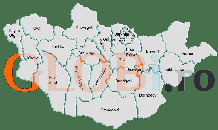 Harta online a regiunilor Mongoliei